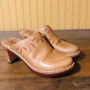 Frye Leather Clog with Leather wrapped heels